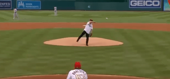 Post Photo for Dr. Fauci attempts ceremonial first pitch