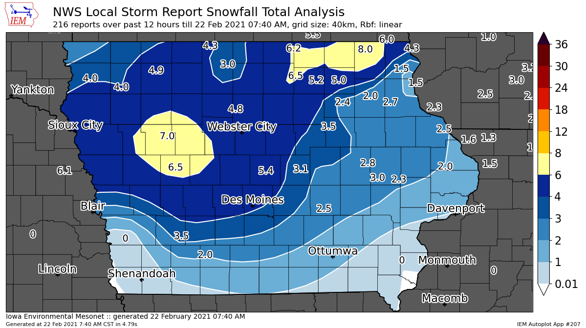 Post Photo for Snow Totals From Sunday