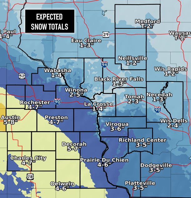 Post Photo for Expected Snow Totals