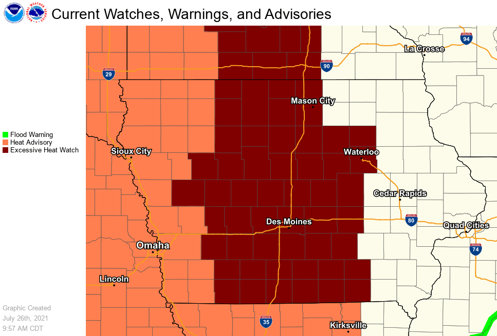 Post Photo for Excessive Heat Watch for parts of Iowa & Minnesota
