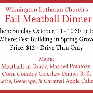 Post Photo for Wilmington Lutheran Church Meatball Dinner